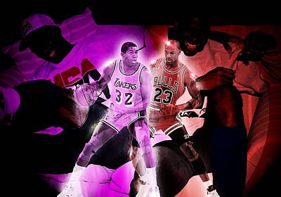 Magic Johnson Digital Art - Jordan Vs Johnson by Randell Gates