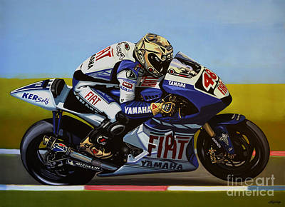 Action Portrait Painting - Jorge Lorenzo by Paul Meijering