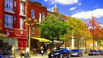 Montreal Painting - Jos Pappos Furs Street Scene Suburban Shops And Store Fronts Sherbrooke Montreal Carole Spandau Art  by Carole Spandau