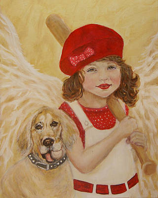 Softball Painting - Joscelyn And Jolly Little Angel Of Playfulness by The Art With A Heart By Charlotte Phillips