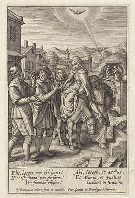 Holy Ghost Drawing - Joseph And Mary Are Refused At The Inn, Print Maker by Hieronymus Wierix