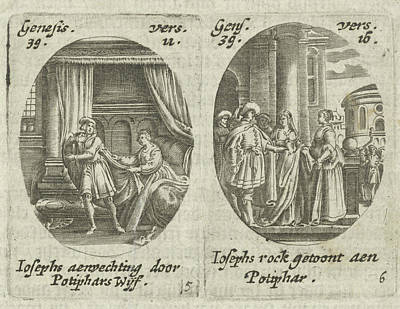 Indoor Drawing - Joseph And Potiphars Wife, Potiphars Wife Accused Joseph by Hans Janssen