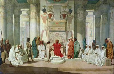 Joseph Explaining Pharaohs Dreams Oil On Canvas Print by Jean Adrien Guignet