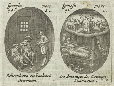 Joseph Explains Dreams Of Cupbearer And Baker Art Print by Hans Janssen