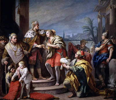 Joseph In The Pharaohs Palace Art Print by Jacopo Amigoni