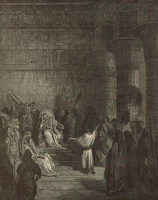 Biblical Interpretation Drawing - Joseph Interpreting Pharaoh's Dream by Antique Engravings