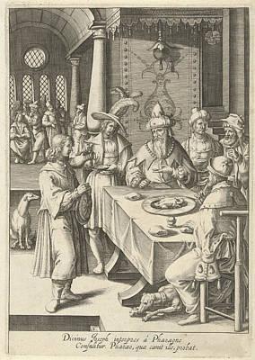Joseph Interprets The Dreams Of Pharaoh, Print Maker Robert Art Print by Robert De Baudous And Lucas Van Leyden