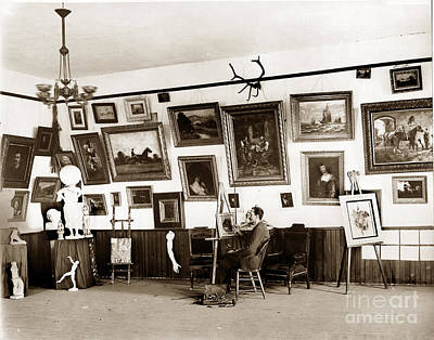 Photograph - Joseph Kurtz Oliver Artist In His Studio Monterey Circa 1905 by California Views Mr Pat Hathaway Archives