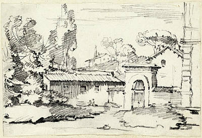 Garden Entrance Drawing - Joseph-marie Vien, Entrance To The Gardens Of The Villa by Quint Lox
