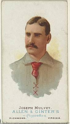 Baseball Cards Drawing - Joseph Mulvey, Baseball Player by Allen & Ginter