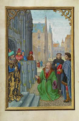 Pilate Painting - Joseph Of Arimathea Before Pilate Simon Bening, Flemish by Litz Collection