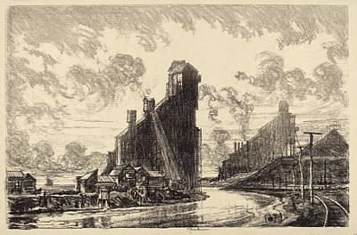 Joseph Pennell, Coal Breaker On The River Art Print
