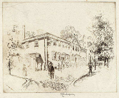 Philadelphia Street Drawing - Joseph Pennell, Fourth Street, Meeting House by Quint Lox