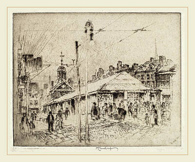 Philadelphia Street Drawing - Joseph Pennell, Second Street Market, Philadelphia by Litz Collection