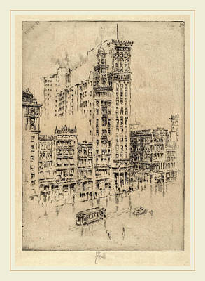 Rainy Day Drawing - Joseph Pennell, Union Square, Rainy Day, American by Litz Collection