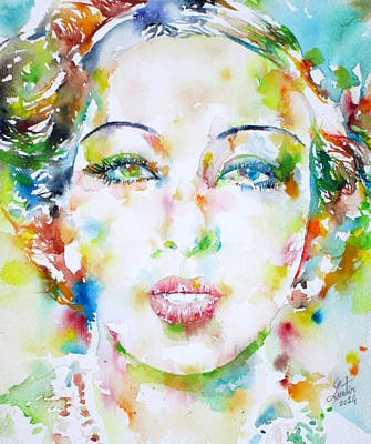 Painting - Josephine Baker - Watercolor Portrait by Fabrizio Cassetta