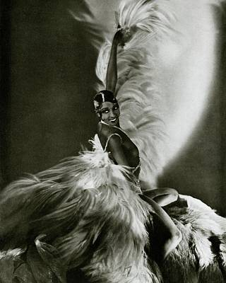 Look Away Photograph - Josephine Baker Wearing A Feathered Cape by George Hoyningen-Huene