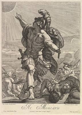 Frey Drawing - Joshua Commanding The Sun To Stand Still by Hieronymus Ferroni