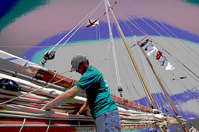 Port Town Mixed Media - Joshua On Mobile Bay by Charles Shoup