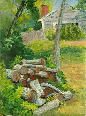 Painting - Joshua's Way Woodpile  by Nicolas Bouteneff