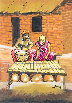 Art Print featuring the painting Joueurs De Balafon Et De Tam Tam by Emmanuel Baliyanga