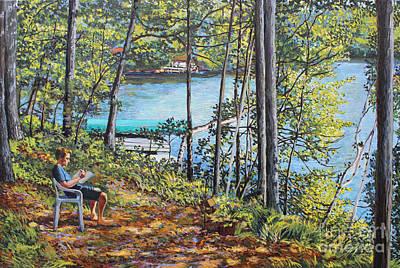Journal At The Lake Art Print
