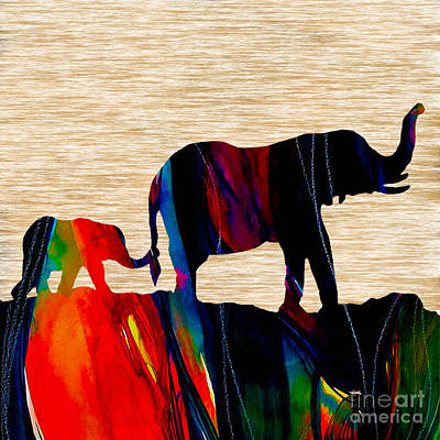 Elephants Mixed Media - Journey In Time by Marvin Blaine