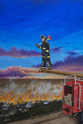 Painting - Journey Of A Fireman by Cindy D Chinn