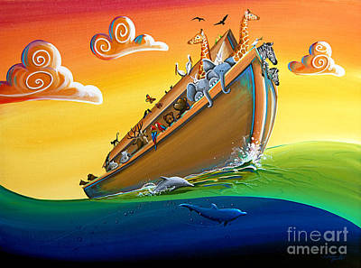 Noah Painting - Noah's Ark - Journey To New Beginnings by Cindy Thornton