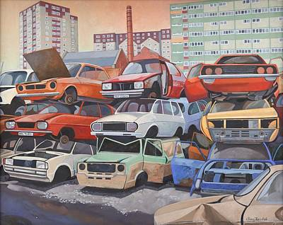 Junk Yard Painting - Journey's End  by Anna Teasdale