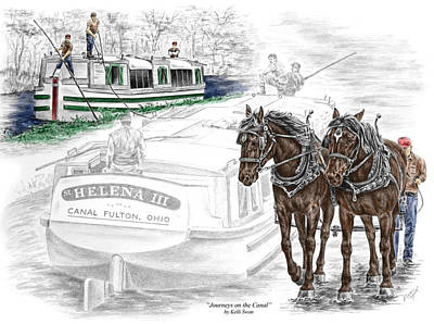 Drawing - Journeys On The Canal - Canal Boat Print Color Tinted by Kelli Swan
