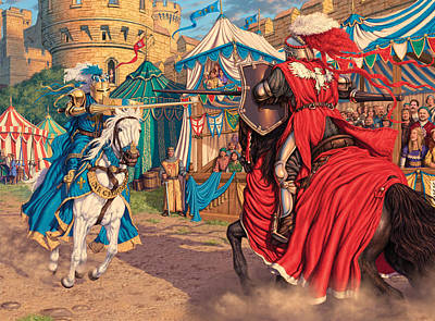 Read Photograph - Jousting Knights Variant 1 by Steve Read