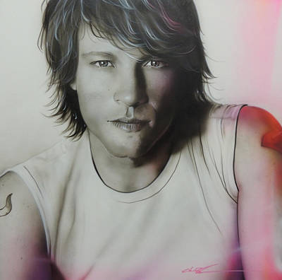 Pop Surrealism Painting - Jon Bon Jovi - ' Jovi ' by Christian Chapman Art