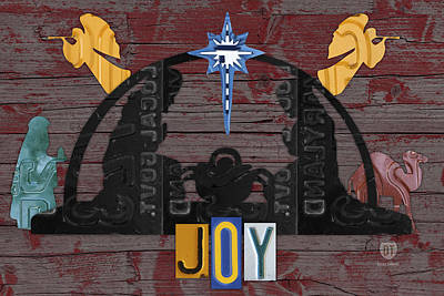 Joy Mixed Media - Joy Nativity Scene Recycled License Plate Art by Design Turnpike