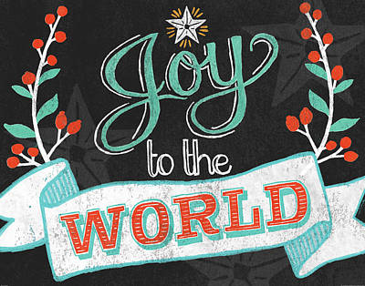 Holiday Painting - Joy To The World Black by Mary Urban