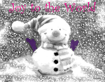 Snowman Mixed Media - Joy To The World- Greeting Card by SL Guidi