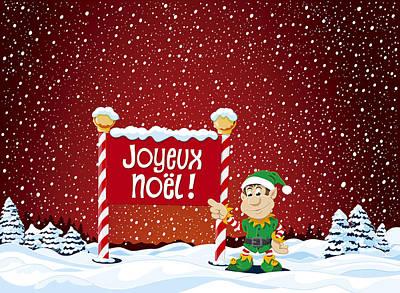 Vector Drawing - Joyeux Noel Sign Christmas Elf Winter Landscape by Frank Ramspott