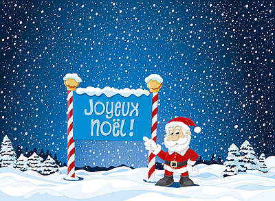 Joyeux Noel Sign Santa Claus Winter Landscape Art Print