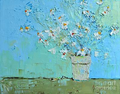 Joyful Daisies, Flowers, Modern Impressionistic Art Palette Knife Oil Painting Art Print