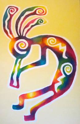 Oneness Painting - Joyful Kokopelli by Sister Rebecca Shinas