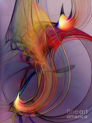 Lyrical Digital Art - Joyful Leap-abstract Art by Karin Kuhlmann
