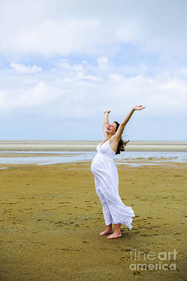 Pregnant Photograph - Joyful Pregnant Woman by Diane Diederich