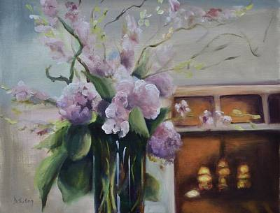 Bouquets Of Pink Flowers Green Blue Painting - Joyous Occasion by Donna Tuten