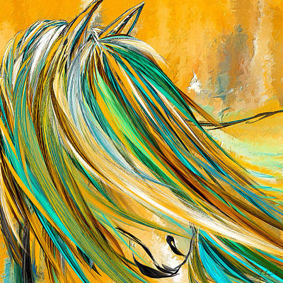 Bay Thoroughbred Horse Painting - Joyous Soul- Yellow And Turquoise Artwork by Lourry Legarde