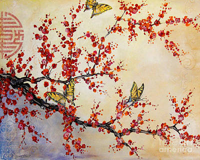 Cherry Blossoms Painting - Butterfly Blossoms-jp1451 by Jean Plout