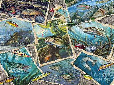 Northern Pike Fish Painting - Jq's Fishing Collage by Jon Q Wright