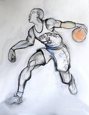 New York Knicks Mixed Media - Jr - Basketball by Carolyn Weltman