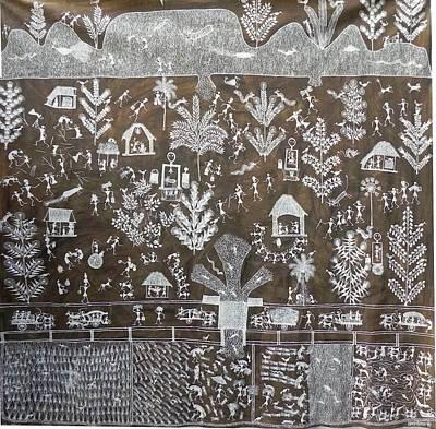 Indian Tribal Art Painting - Jsm 28 by Jivya Soma Mashe