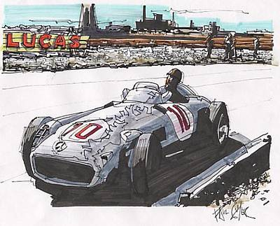 Mercedes Automobile Drawing - Juan Fangio Mercedes Benz British Grand Prix by Paul Guyer