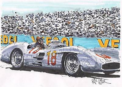 Mercedes Automobile Drawing - Juan Fangio Mercedes Benz French Grand Prix by Paul Guyer
